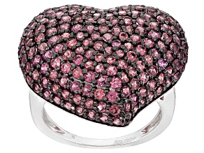 Raspberry color Rhodolite Sterling Silver Heart Ring 2.65ctw