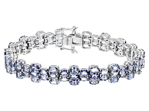 Blue Tanzanite Sterling Silver Bracelet 20.00ctw