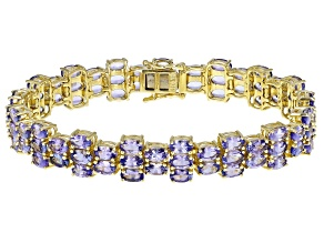 Blue Tanzanite 18k Yellow Gold Sterling Silver Bracelet 20ctw