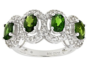 Green Chrome Diopside Sterling Silver Ring 3.03ctw