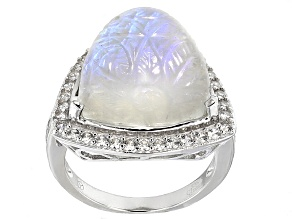 Rainbow Moonstone Sterling Silver Ring 1.02ctw