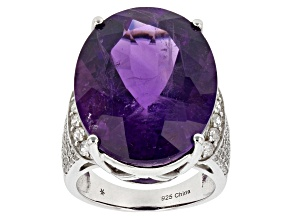 Purple Amethyst Sterling Silver Ring 31.48ctw
