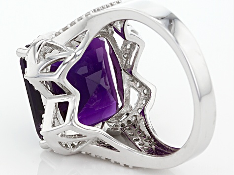 Purple Amethyst Sterling Silver Ring 8.80ctw