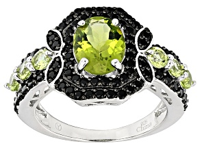 Green Peridot Sterling Silver Ring 3.45ctw