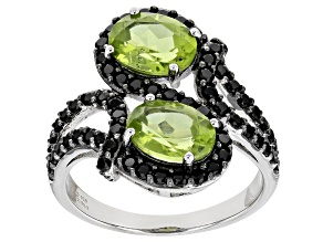 Green Peridot Sterling Silver Ring 3.47ctw
