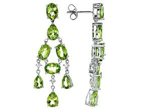 Green Peridot Sterling Silver Dangle Earrings 11.47ctw