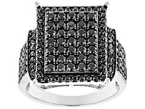 Black Spinel Sterling Silver Ring 2.02ctw