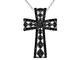 Black Spinel Rhodium Over Sterling Silver Cross Pendant With Chain .85ctw