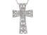 White Zircon Rhodium Over Sterling Silver Cross Slide With Chain 1.04ctw