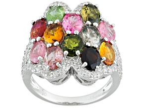 Multi-Tourmaline Sterling Silver Ring 6.01ctw