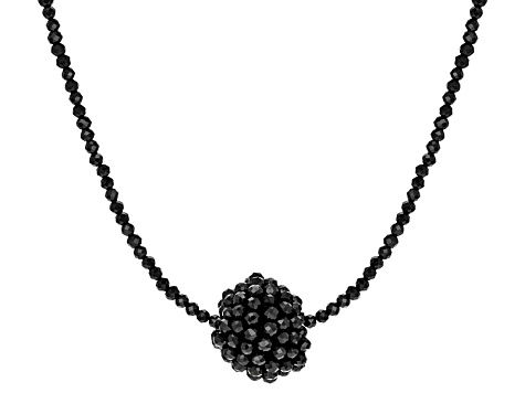 Black Spinel Sterling Silver Necklace 26.00ctw