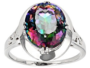 Multicolor Quartz Rhodium Over Sterling Silver Ring 4.00ct