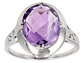 Purple Amethyst Rhodium Over Sterling Silver Ring 4.00ct