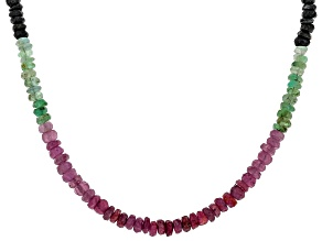 Multi-Sapphire Sterling Silver Necklace 50.00ctw