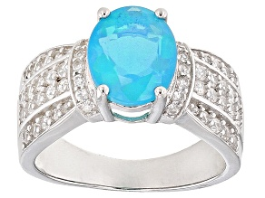 Blue Ethiopian Opal Sterling Silver Ring 2.64ctw