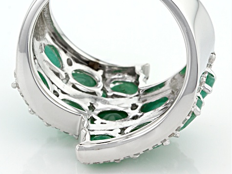 Green Emerald Sterling Silver Ring 3.59ctw