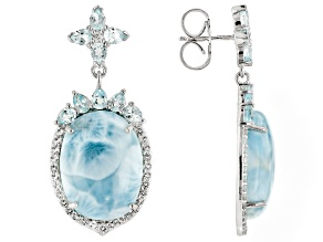 Blue Larimar Sterling Silver Dangle Earrings 4.10ctw