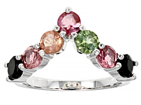 Multi-Tourmaline Rhodium Over Sterling Silver Ring 1.61ctw