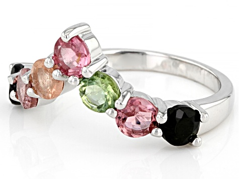 Multi-Tourmaline Sterling Silver Ring 1.61ctw