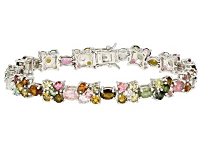 Multi-Tourmaline Rhodium Over Sterling Silver Bracelet 13.78ctw