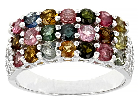 Multicolor Tourmaline Rhodium Over Sterling Silver Ring 1.95ctw