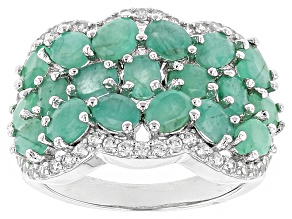 Green Emerald Sterling Silver Ring 3.95ctw