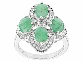 Green Emerald Sterling Silver Ring 3.60ctw