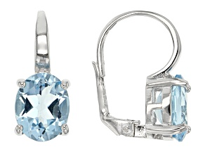 Blue Topaz Rhodium Over Sterling Silver Earrings 6.40ctw