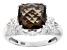 Gray Smoky Quartz Rhodium Over Sterling Silver Ring 3.50ct