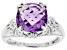 Purple Amethyst Rhodium Over Sterling Silver Ring 3.80ct