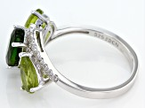 Green Chrome Diopside, Peridot And White Zircon Sterling Silver Ring 3.45ctw
