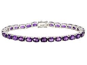Purple Amethyst Rhodium Over Sterling Silver Bracelet 15.10ctw