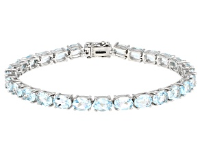 Blue Topaz Rhodium Over Sterling Silver Bracelet 19.40ctw