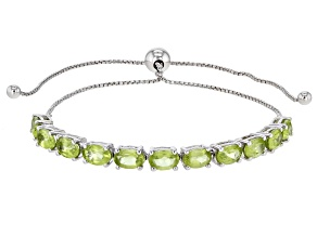 Green Peridot Rhodium Over Sterling Silver Bracelet 4.40ctw