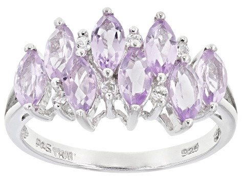 Details about  /7.16 TCW Genuine Pink Amethyst /& Amethyst Rhodium Plated 925 Silver Ring