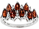 Red Garnet Rhodium Over Sterling Silver Ring 1.93ctw