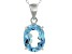 Blue Topaz Sterling Silver Pendant With Chain 4.80ct