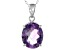 Purple Amethyst Rhodium Over Sterling Silver Pendant With Chain 4.80ct
