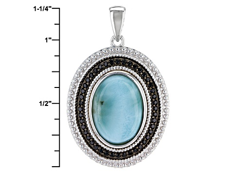 Blue Larimar Sterling Silver Pendant With Chain .25ctw