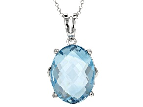 Blue Topaz Rhodium Over Sterling Silver Pendant 10.00ct