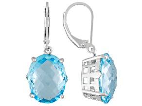 Blue Topaz Rhodium Over Sterling Silver Earrings 20.00ctw