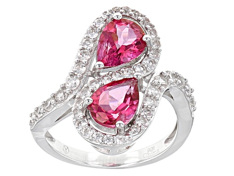 Pink Danburite Sterling Silver Ring 2.70ctw