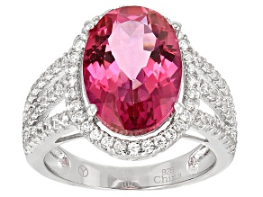 Pink Daburite Sterling Silver Ring 8.53ctw