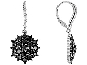 Round Black Spinel Sterling Silver Earrings 5.33ctw