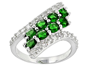 Green Chrome Diopside And White Zircon Sterling Silver Ring 2.65ctw