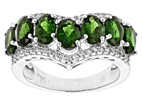 Green Chrome Diopside Sterling Silver Ring 4.12ctw