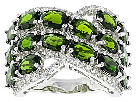 Green Chrome Diopside Sterling Silver Ring 9.49ctw
