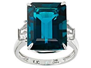 London Blue Topaz 14k White Gold Ring 14.25ctw