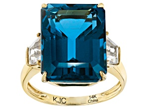 London Blue Topaz 14k Yellow Gold Ring 14.25ctw