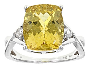 Yellow Golden Apatite Sterling Silver Ring 4.49ctw